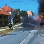 Velmi nebezpečný a náročný požár auto jeřábu