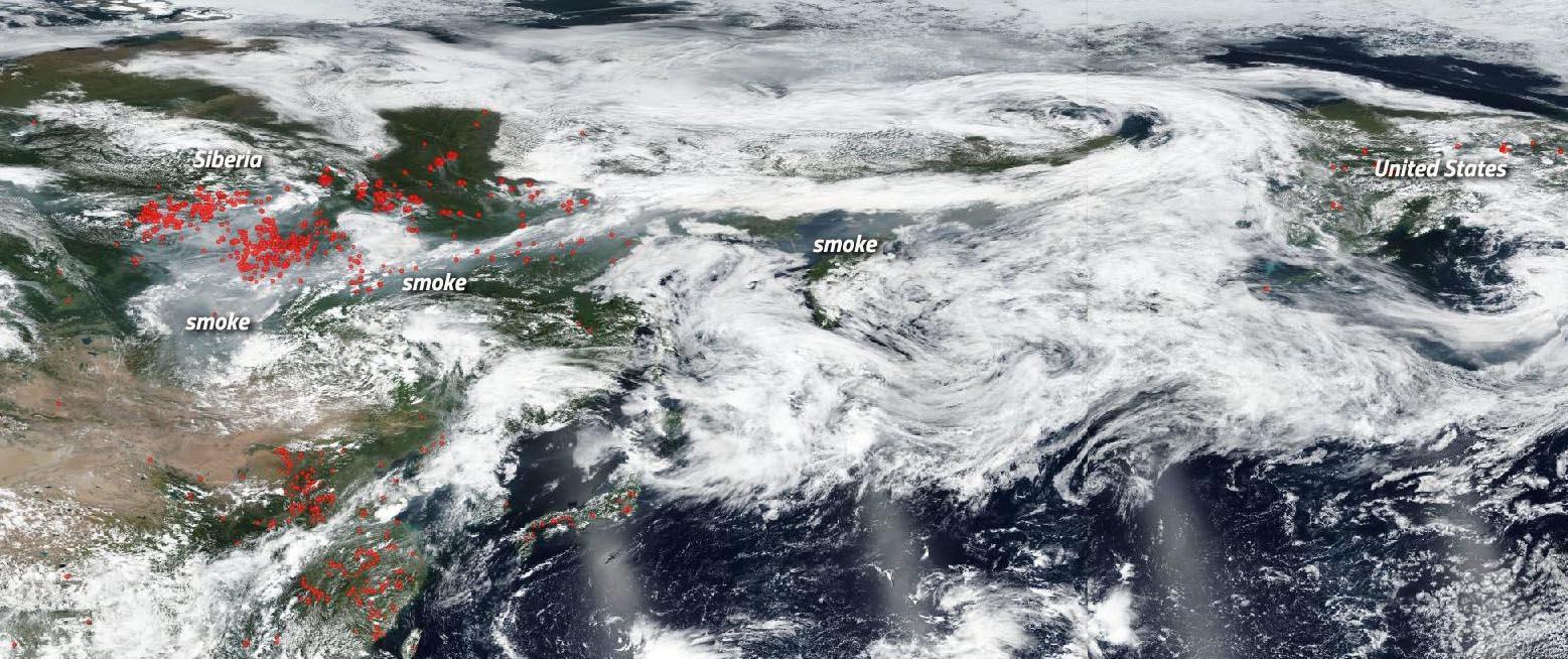 Satelitní snímek požáru na Sibiři